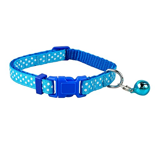 Didog(TM) Polka Dots Nylon Small Dog Puppy Cat Collar with Cute Bell XS Neck for 8-12″ Blue