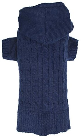 Navy Dog Classic Cable Pet Sweater Hoodie for Dogs, X-Large (XL) Size