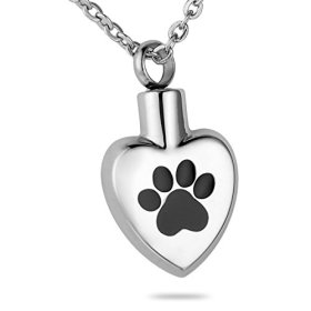 HooAMI Puppy Dog Paw Print Heart Pet Cremation Urn Necklace Pendant Keepsake Memorial Jewelry