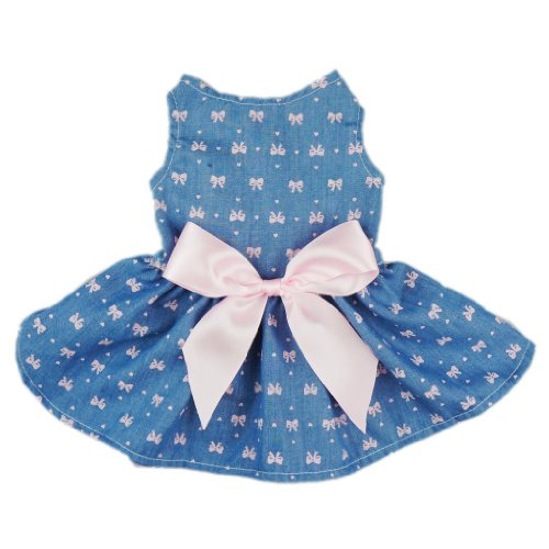 Fitwarm® Sweetie Bows Soft Denim Pet Dog Dress Shirts Clothes Vest Apparel, Medium
