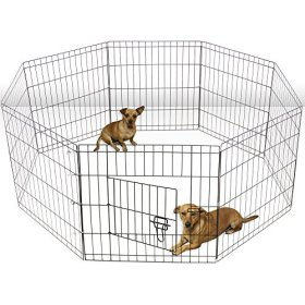 Oxgord 8-Panel Folding Wire Fence Exercise Pen with Door for Pets, 64 by 64 by 30″