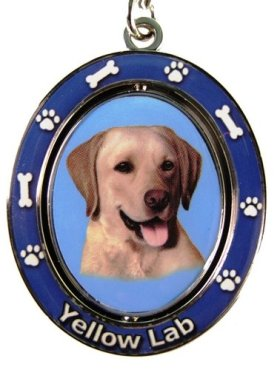 """Yellow Lab Key Chain """"Spinning Pet Key Chains""""Double Sided Spinning Center With Yellow Labs Face Made Of Heavy Quality Metal Unique Stylish Yellow Lab Gifts"""