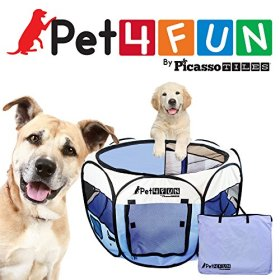 PET4FUN® PN945 MEDIUM 43″PORTABLE PET PUPPY DOGGIE CAT PLAYPEN KENNEL – 600D OXFORD CLOTH, TOOL-FREE SETUP, CARRYING BAG INCLUDED, REMOVABLE MESH COVER FOR SHADE/SECURITY, 2 POCKETS FOR STORAGE – BLUE