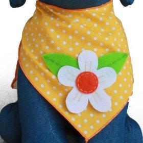 Dog Bandana with Flower Applique (Large)