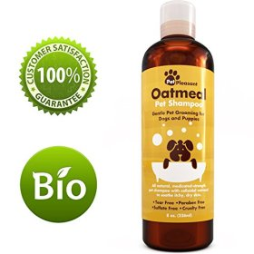 Oatmeal Pet Shampoo for Dogs & Puppies – Best All Natural Doggy Shampoo & Conditioner for Itchy and Dry Skin – Medicated Strength Deodorizer – 8 oz