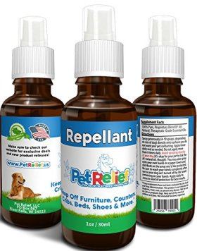 Dog Repellent Spray, Pet Training Spray, Stop Dog Chewing, Lifetime Warranty! 30ml Natural Dog Deterrent Keep Off Couch, Indoor Repeller, Anti Chew Spray, No Side Effects! Made In USA By Pet Relief
