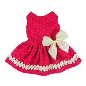 Fitwarm Pink Sweet Pet Dog Dress Lace Ribbon Clothes Shirts – M