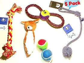 Yummy Paws Dog Toys, Plush limbless Squeak Animal, Rope with Ball And Bonus Fetch balls for Dogs/Puppies Cool Interactive 5 Pack Gift Set Great for Tug-O-War/Fetch Pet Chew Toys (colors may very)