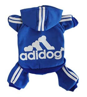 Scheppend Adidog Pet Clothes for Dog Cat Puppy Hoodies Coat Winter Sweatshirt Warm Sweater,Blue Small