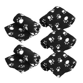 LUXMO 5pcs Black Pet Dog Cat Puppy Kitten Soft Warm Blanket Mat Doggy with Paw Prints Cushion Lovely Design