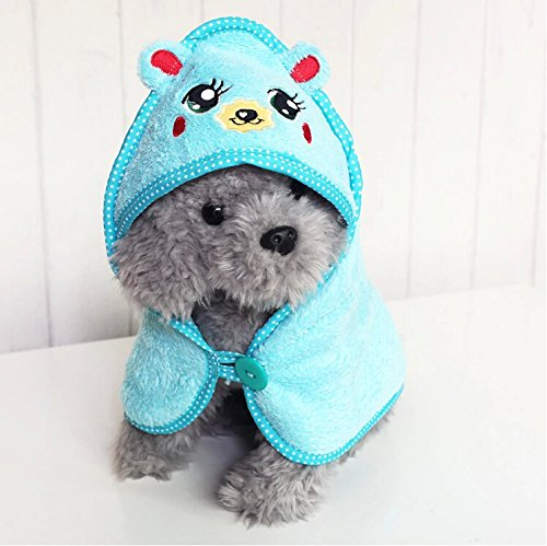 GigaMax(TM) Pet Dog Cute Cartoon Pajamas Dog Bathrobe Multifunction Absorbent Dog Bath Towel Animal Puppy Cat Warm Blanket