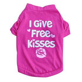 PanDaDa Puppy Small Pet Dog Cotton Blend T-shirt I GIVE FREE Printed Tee Shirt Rose XXS