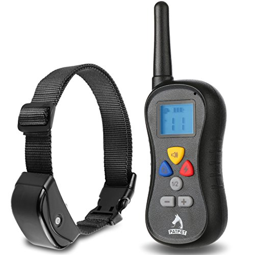 Patpet PTS-008 330 yards Remote Dog Training Collar – Has Shock, Vibration and Tone with Backlight LCD, Separate Silicone Buttons and Water-resistant Receiver. Best for Large, Medium and Small Dogs!
