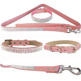 WwWSuppliers Pink PU Leather Crocodile Rhinestones Bling Dog Puppy Cute Dazzling Sparkling Elegant Fancy Pet Adjustable Collar & Pink Bling Leash Lead Diva Fashion Combo (Extra Small: 7″-10″)
