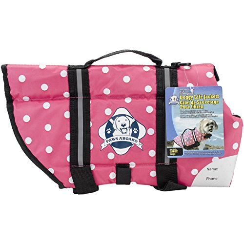 Fido Pet Products Paws Aboard Doggy Life Jacket, Large, Pink Polka Dot