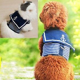 Bro'Bear Adjustable Cool Soft Velcro Cat/Dog Safety Walking Navy Sailor Style Harness Puppy/Kitty Vest Pet Spring Clothes Summer Apparel (X-Small)
