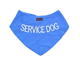 SERVICE DOG Blue Dog Bandana quality personalised embroidered message neck scarf fashion accessory Prevents accidents by warning others of your dog in advance