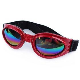 QPet Pet Sunglasses Dog Sunglasses Goggle UV Sunglasses Eye Wear Protection Waterproof (Red)