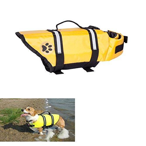 Yellow Xlarge Designer Dog Life jacket with paw Pet saver vest coat floattion float aid buoyangcy