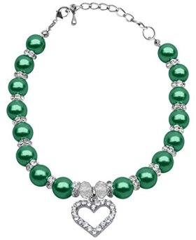 Mirage Pet Products 8 to 10-Inch Heart and Pearl Necklace, Medium, Emerald Green