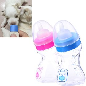 La favoritaTM Pet Dog Cat Puppy Baby Animal Feeding Plastic Bottle Milk with Premium Silicone Nipple