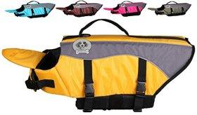 Vivaglory Dog Life Jacket Dog Lifesaver Vest Pet Reflective Life Preserver, Medium, Yellow