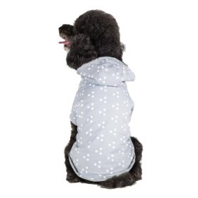 Blueberry Pet 14-Inch Polyester/Cotton Polo Polka Dot Dog Hoodie, Large, Grey and White