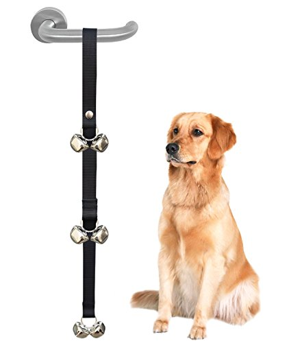 CandyHome Potty Doorbells Housetraining Dog Doorbells Tinkle Bells for House Training,Dog Bell with Doggie Doorbell and Potty Training for Puppies Instructional Guide .Easy 95% Success Rate, Black
