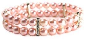 Pink Pearls Dog Necklace, Stretch Rhinestone Pearl Pet Jewelry