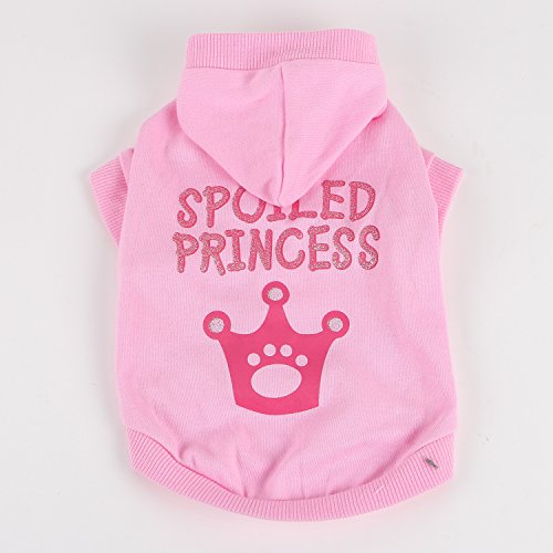 Commoditier Spoiled Princess Pink Dog Hoodie Dresses for Small Dogs Dresses for Pets (Large)