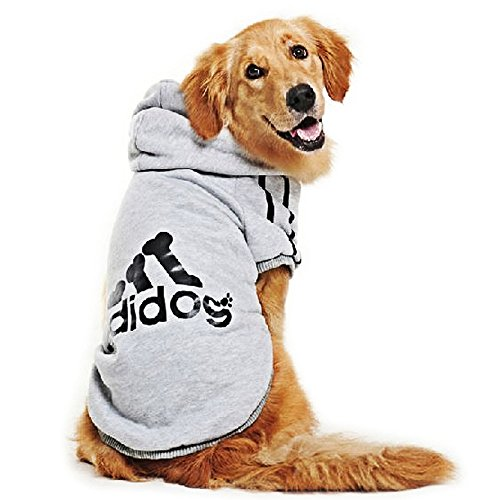 Eastlion adidog Large Dog Warm Hoodies Coat Clothes Sweater Pet Puppy T Shirt Gray 7XL