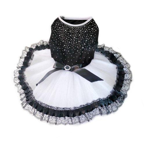WXBUY Glitter Bow Lace Dog Tutu Dress Bubble Skirt Pet Clothes Puppy Costume S