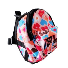 OCSOSO Puppy Dog Backpack,Saddle Bags,Back Pack with Training Lead Leash (Pink peach heart, S)