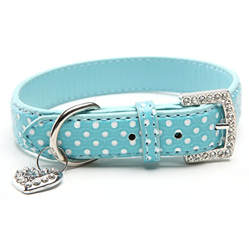 BINPET BA2028 Designer Polka Dots Leather Pet Puppy Dog Collar with Jeweled Heart Pendant Charms and Durable Metal Buckle , Blue X Small