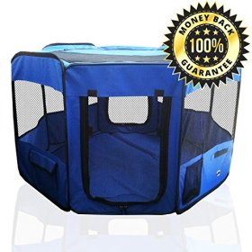 ToysOpoly Pet Playpen 45″ Exercise Puppy Pen Kennel – Best for Dogs and Cats Safe in Their Play-pen While Protecting The Little Kids – Folding Design Easy Storage (Blue)