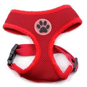 BINGPET BB5001 Soft Mesh Dog Harness Pet Walking Vest Puppy Padded harnesses Adjustable , Red Medium