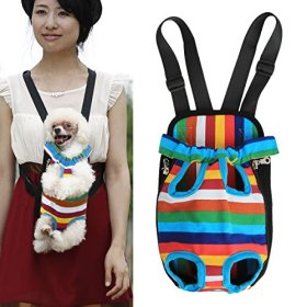 Pet Dog Cat Puppy Carrier Backpack Front Tote Nylon Bag Travel Hiking Riding (Rainbow, M)
