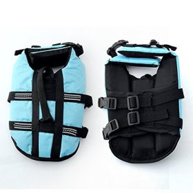 JZHY Dog Life Jacket Safety Clothes Swimming life jackets Swimwear with Adjustable Belt for Dog Pet Size S Color Blue