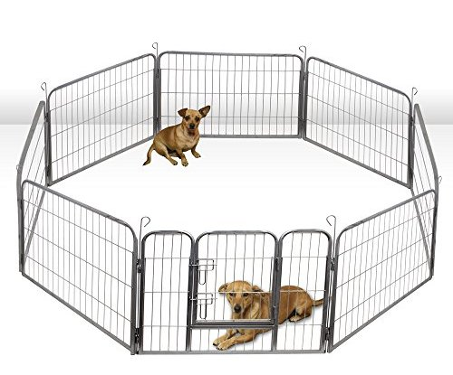 oxgord heavy duty metal pet dog folding exercise playpen yard wire fence 8 panel  32 inches