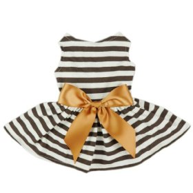 Fitwarm® Comfy Cotton Striped Pet Dress Casual Holiday Dog Shirts Clothes Apparel, Small