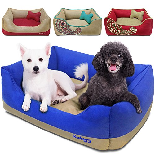 Blueberry Pet Microsuede Pet Bed, Recyclable & Removable Stuffing w/YKK Zippers, Machine Washable, Heavy Duty Overstuffed Beds for Cats & Dogs, 34″ x 24″ x 12″, Blue and Beige Color-block