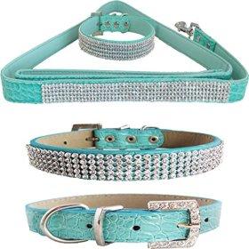 WwWSuppliers Teal Green PU Leather Crocodile Bling Dog Puppy Pet Adjustable Collar & Teal Green Bling Leash Lead Elegant Flashy Dazzling Fancy Diva Luxury Fashion Combo (Medium)