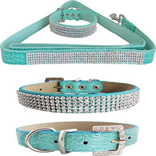 WwWSuppliers Teal Green PU Leather Crocodile Bling Dog Puppy Pet Adjustable Collar & Teal Green Bling Leash Lead Elegant Flashy Dazzling Fancy Diva Luxury Fashion Combo (Medium)