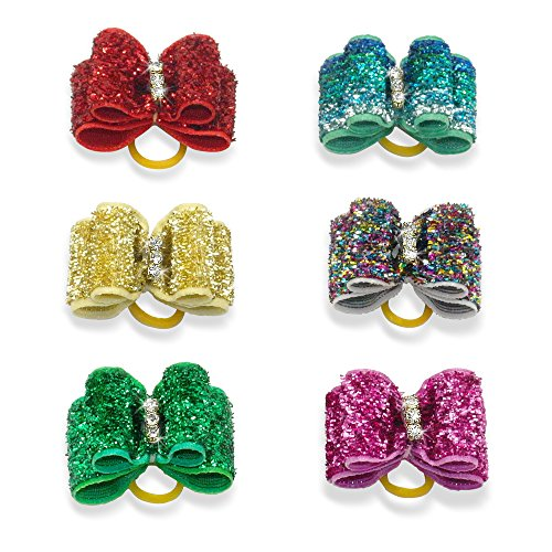 Berry 20pcs Cute Dog Hair Bows with Rubber Bands – Crystal Rhinestone Studded – Sparkly Nylon Pet Grooming Accessories for Long Hair Dog & Kitten – Perfect for Poodles,Yorkshire Terrier, Shih Tzu