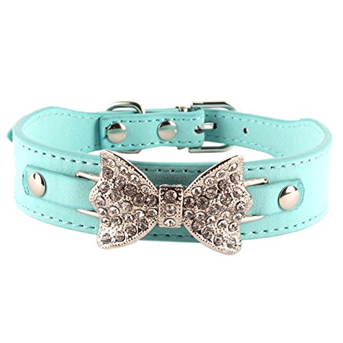 Sunsen Bling Crystal Dog Bow Leather Pet Adjustable Collar Puppy Cat Choker Blue XXS