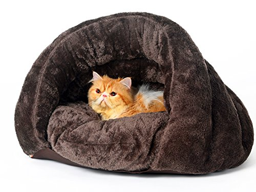 [New Release, February 2016] PLS Pet Cuddle Pouch Pet Bed (Small), Bag, Covered Hodded Pet Bed, Igloo-Shaped Lounger, Cosy, For Cats and Puppies, Brown