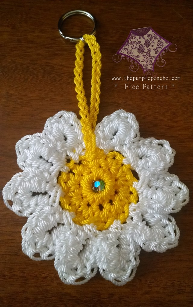Daisy Flower Keychain by The Purple Poncho