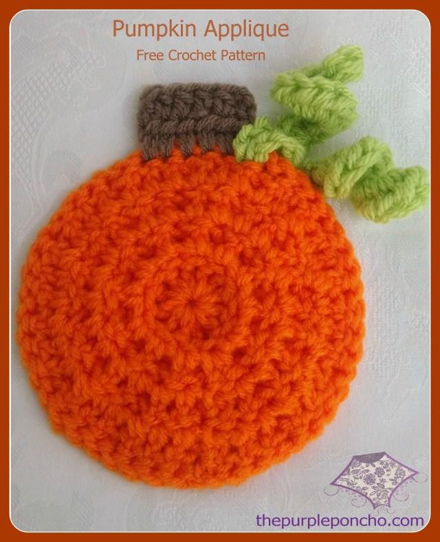 Cute Pumpkin Applique Free Crochet Pattern by The Purple Poncho