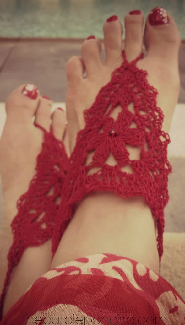 Barefoot Sandals Free Crochet Pattern by The Purple Poncho