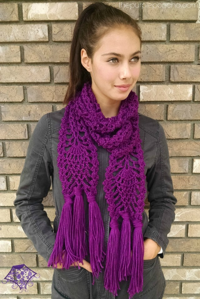 Pineapple Passion Scarf Pattern by Carolyn Calderon thepurpleponcho.com